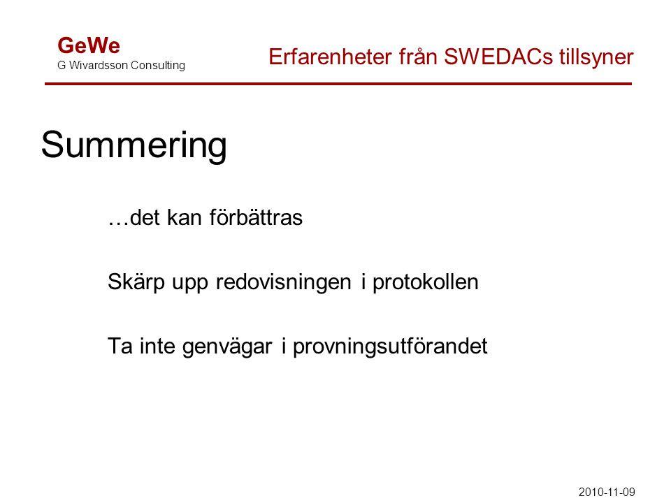 Summering …det kan förbättras Skärp upp redovisningen i protokollen Ta inte genvägar i provningsutförandet GeWe G Wivardsson Consulting Erfarenheter f