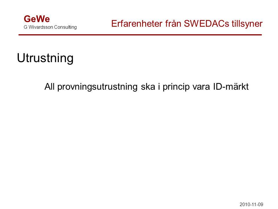 Utrustning All provningsutrustning ska i princip vara ID-märkt GeWe G Wivardsson Consulting Erfarenheter från SWEDACs tillsyner 2010-11-09