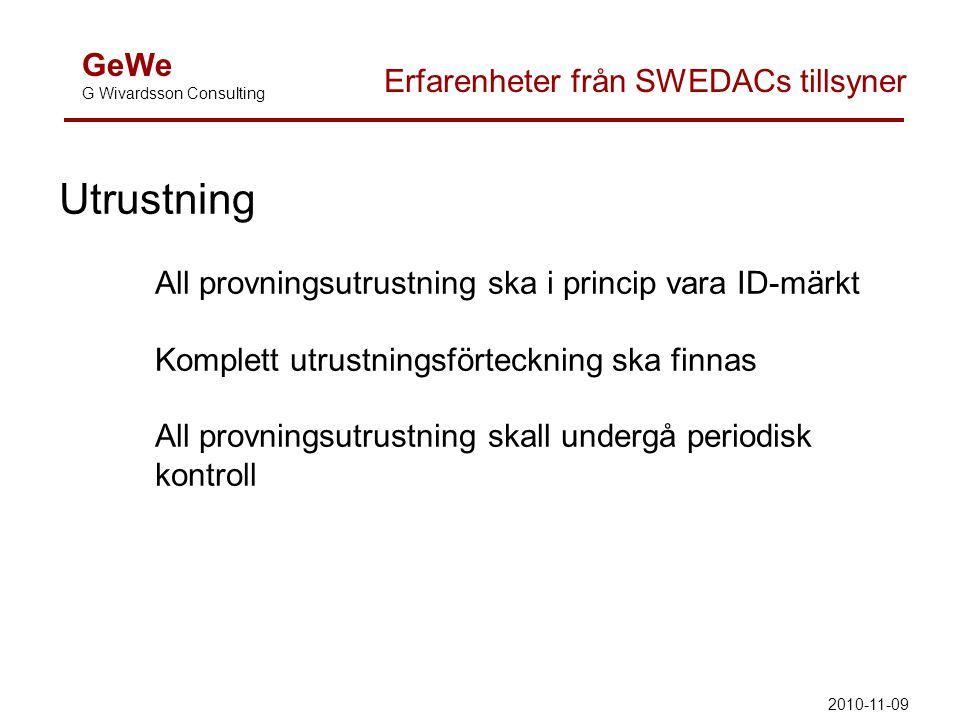 GeWe G Wivardsson Consulting Erfarenheter från SWEDACs tillsyner Utrustning All provningsutrustning ska i princip vara ID-märkt Komplett utrustningsfö