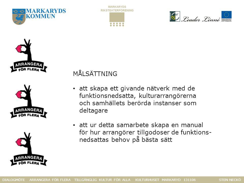 DIALOGMÖTE ARRANGERA FÖR FLERA TILLGÄNGLIG KULTUR FÖR ALLA KULTURHUSET MARKARYD 131106 STEN NECKÖ MÅLSÄTTNING att skapa ett givande nätverk med de funktionsnedsatta, kulturarrangörerna och samhällets berörda instanser som deltagare att ur detta samarbete skapa en manual för hur arrangörer tillgodoser de funktions- nedsattas behov på bästa sätt