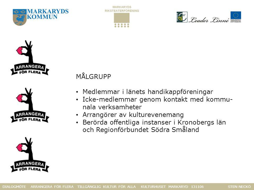 DIALOGMÖTE ARRANGERA FÖR FLERA TILLGÄNGLIG KULTUR FÖR ALLA KULTURHUSET MARKARYD 131106 STEN NECKÖ MÅLGRUPP Medlemmar i länets handikappföreningar Icke-medlemmar genom kontakt med kommu- nala verksamheter Arrangörer av kulturevenemang Berörda offentliga instanser i Kronobergs län och Regionförbundet Södra Småland