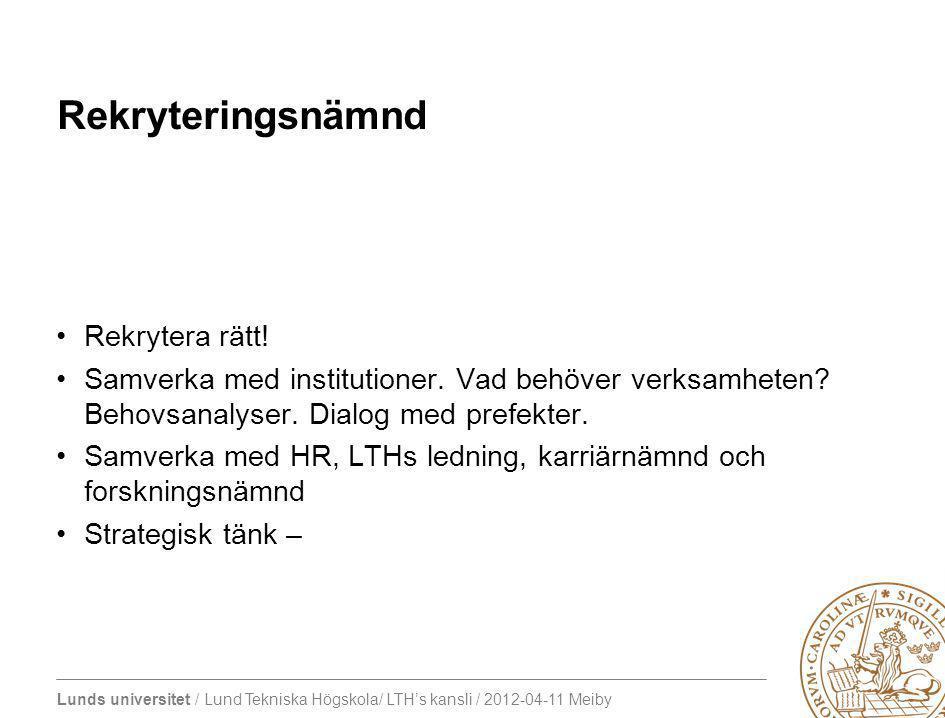 Lunds universitet / Lund Tekniska Högskola/ LTH's kansli / 2012-04-11 Meiby Rekryteringsnämnd Rekrytera rätt.