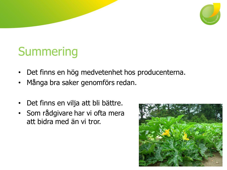 Summering Det finns en hög medvetenhet hos producenterna.