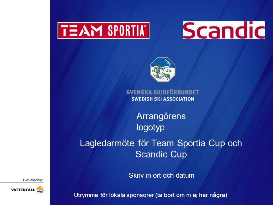 Arrangörens logotyp Lagledarmöte för Team Sportia Cup och Scandic Cup Skriv in ort och datum Utrymme för lokala sponsorer (ta bort om ni ej har några)