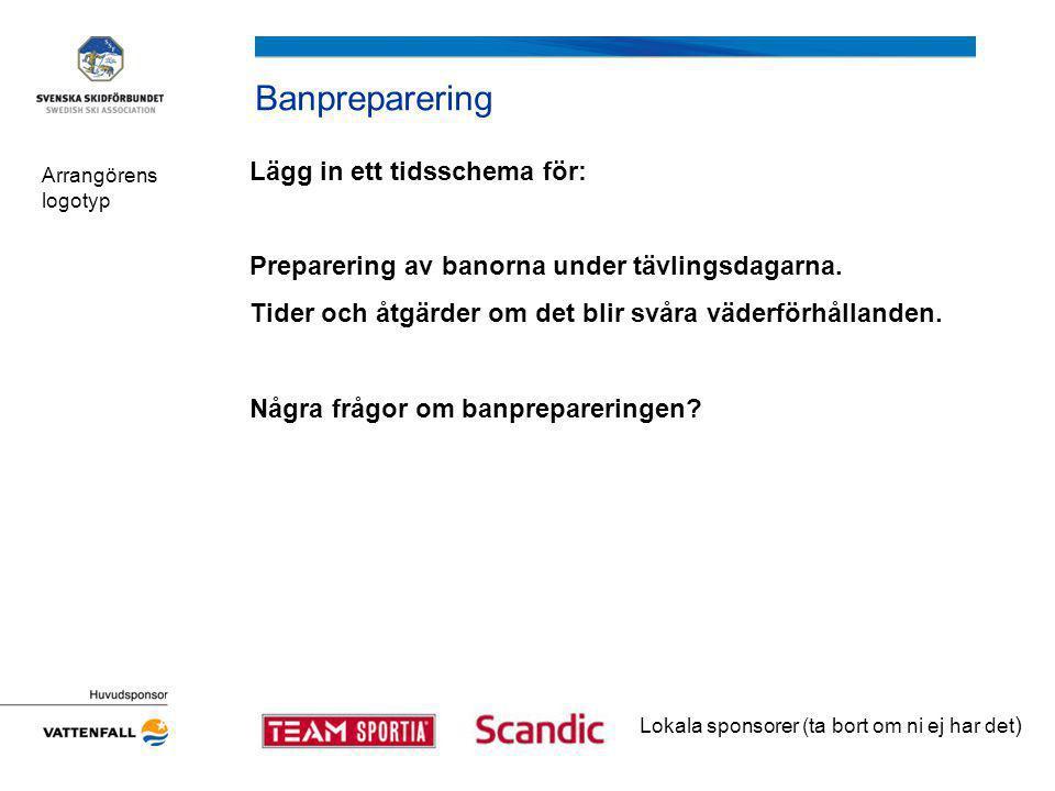 Banpreparering Lägg in ett tidsschema för: Preparering av banorna under tävlingsdagarna.