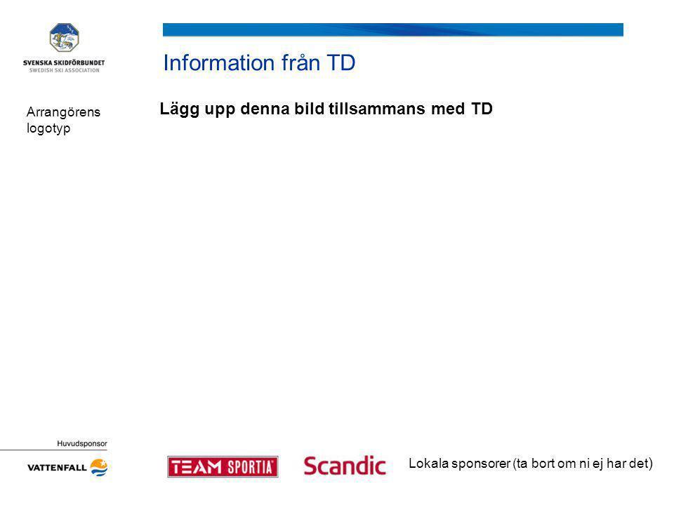 Information från TD Lägg upp denna bild tillsammans med TD Arrangörens logotyp Lokala sponsorer (ta bort om ni ej har det )