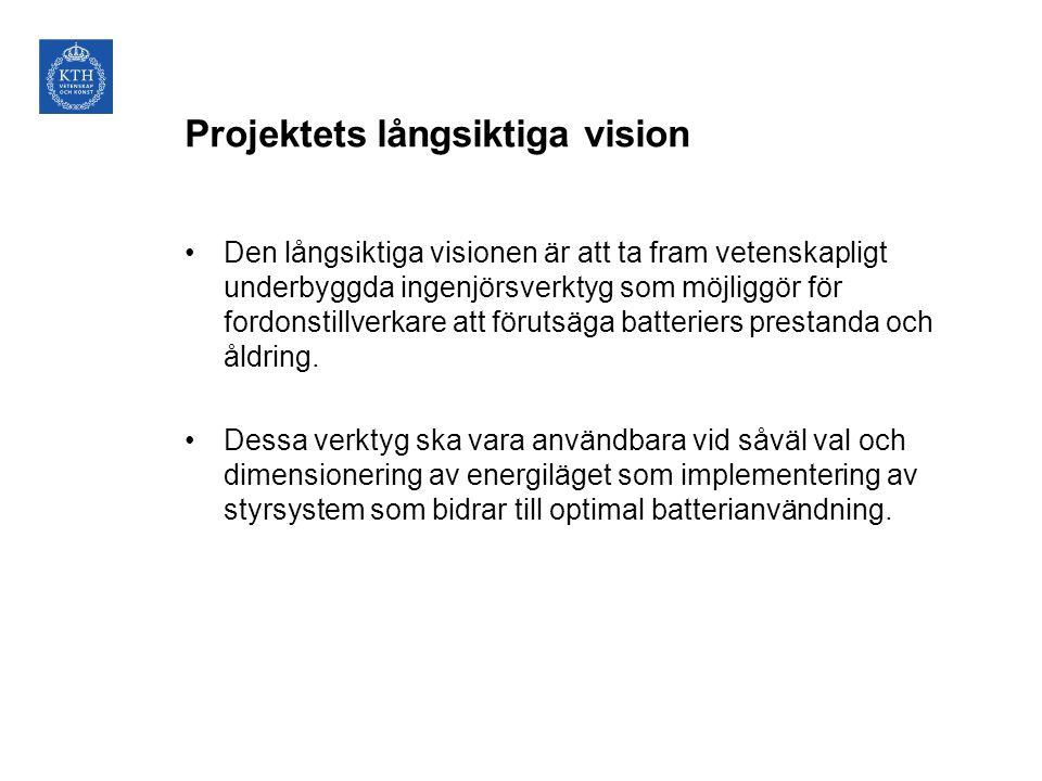 Projektets långsiktiga vision Den långsiktiga visionen är att ta fram vetenskapligt underbyggda ingenjörsverktyg som möjliggör för fordonstillverkare