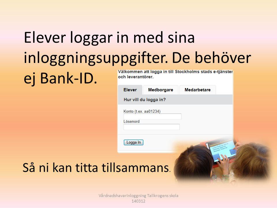 Vårdnadshavarinloggning Tallkrogens skola 140312 Elever loggar in med sina inloggningsuppgifter. De behöver ej Bank-ID. Så ni kan titta tillsammans.