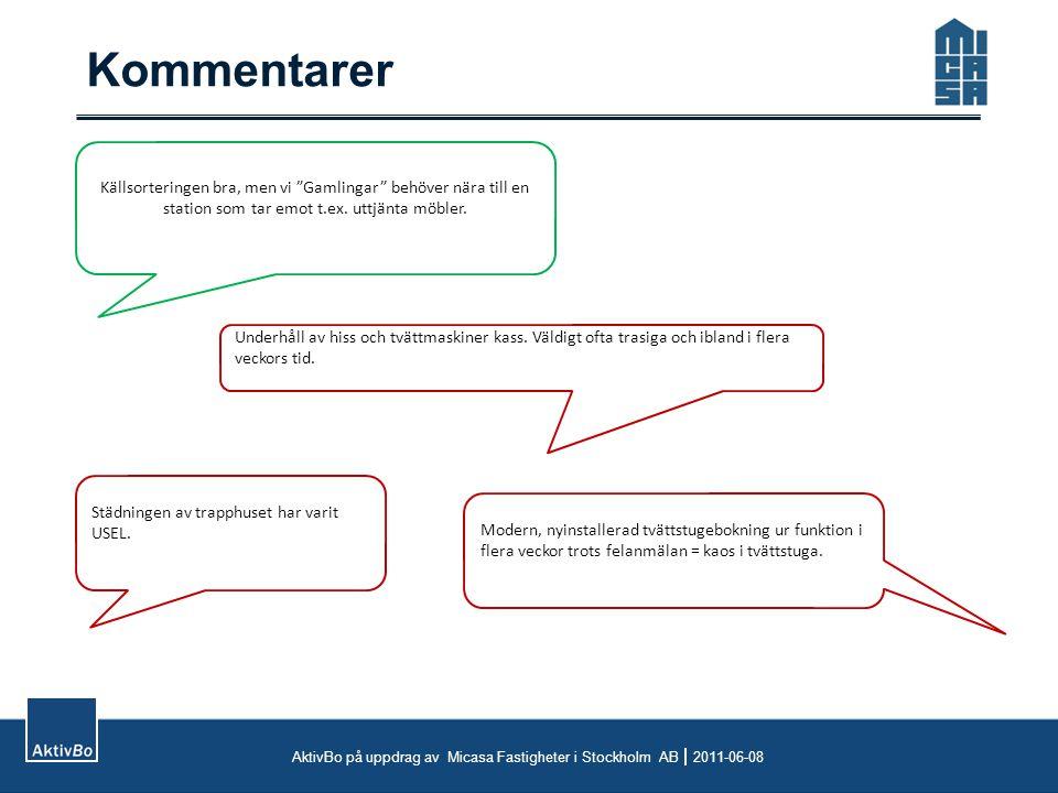 Kommentarer AktivBo på uppdrag av Micasa Fastigheter i Stockholm AB  2011-06-08 Källsorteringen bra, men vi Gamlingar behöver nära till en station som tar emot t.ex.
