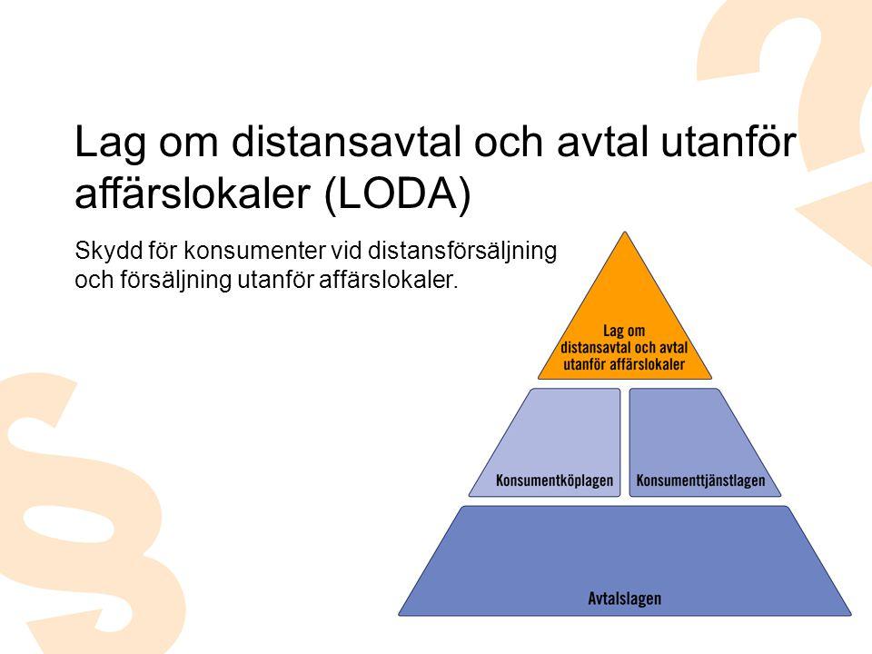 Skydd för konsumenter vid distansförsäljning och försäljning utanför affärslokaler. Lag om distansavtal och avtal utanför affärslokaler (LODA)