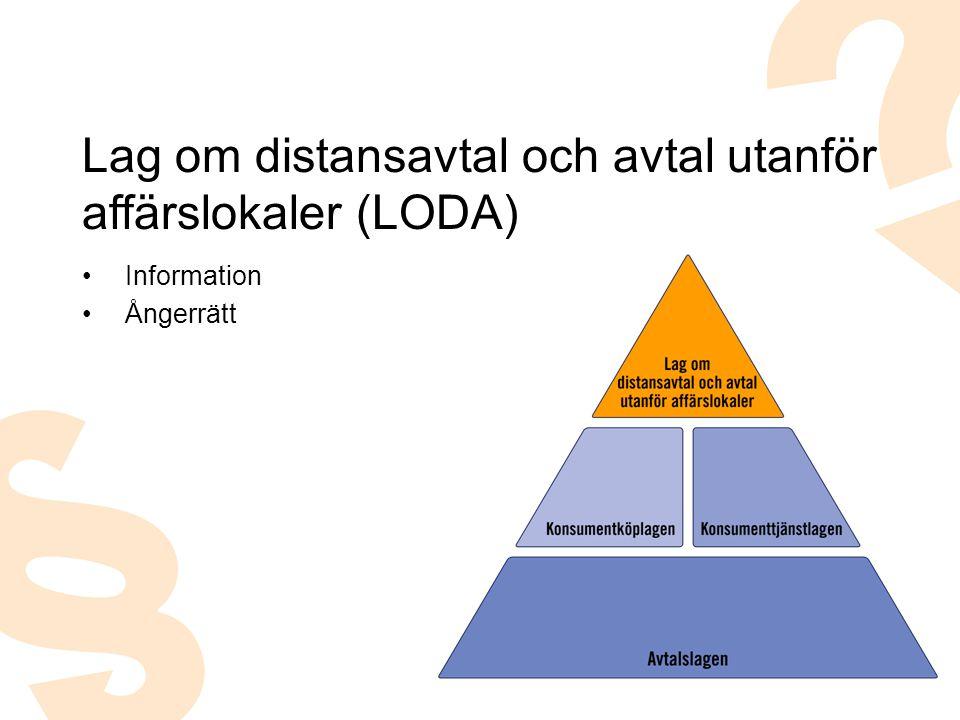 Information Ångerrätt Lag om distansavtal och avtal utanför affärslokaler (LODA)