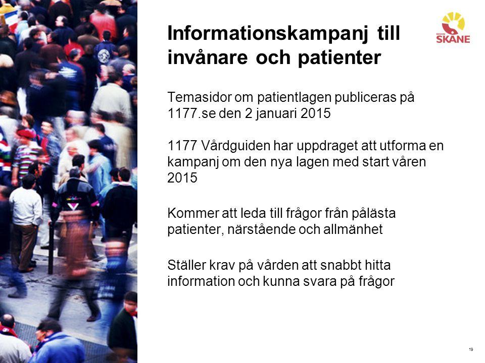 19 Informationskampanj till invånare och patienter Temasidor om patientlagen publiceras på 1177.se den 2 januari 2015 1177 Vårdguiden har uppdraget at
