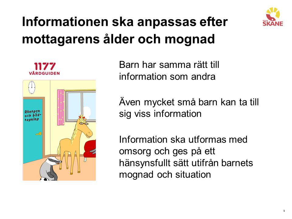 10 Information ska anpassas efter mottagarens erfarenhet Tidigare erfarenhet av sjukvården Erfarenheter och förståelse för vad som händer i kroppen