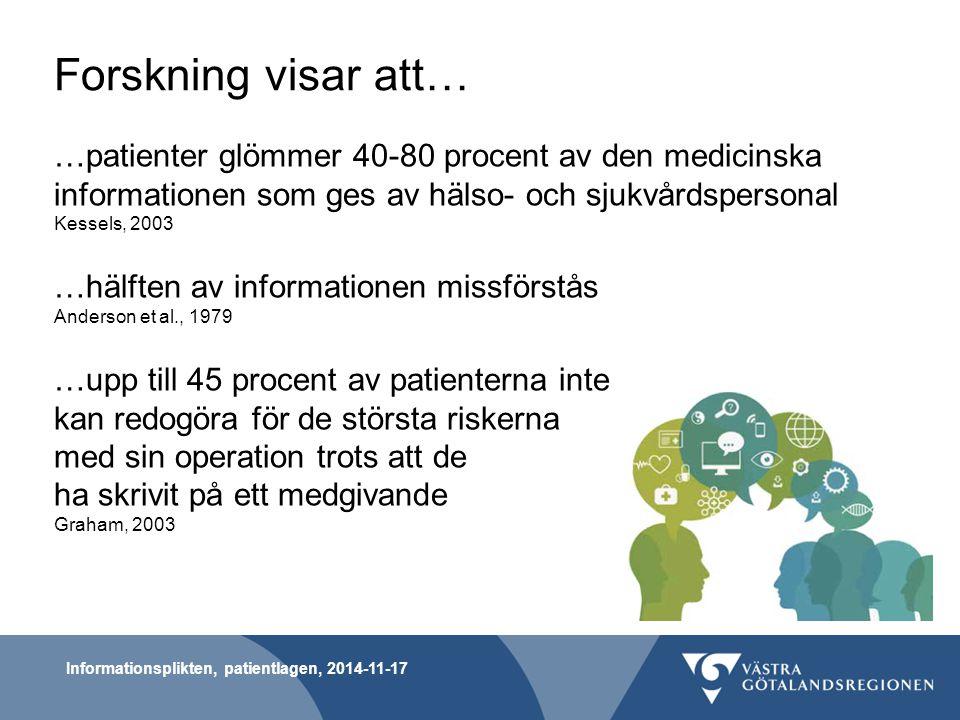 Forskning visar att… …patienter glömmer 40-80 procent av den medicinska informationen som ges av hälso- och sjukvårdspersonal Kessels, 2003 …hälften a