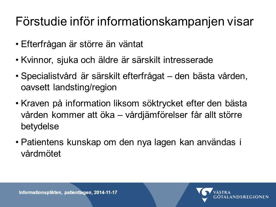 Förstudie inför informationskampanjen visar Efterfrågan är större än väntat Kvinnor, sjuka och äldre är särskilt intresserade Specialistvård är särski