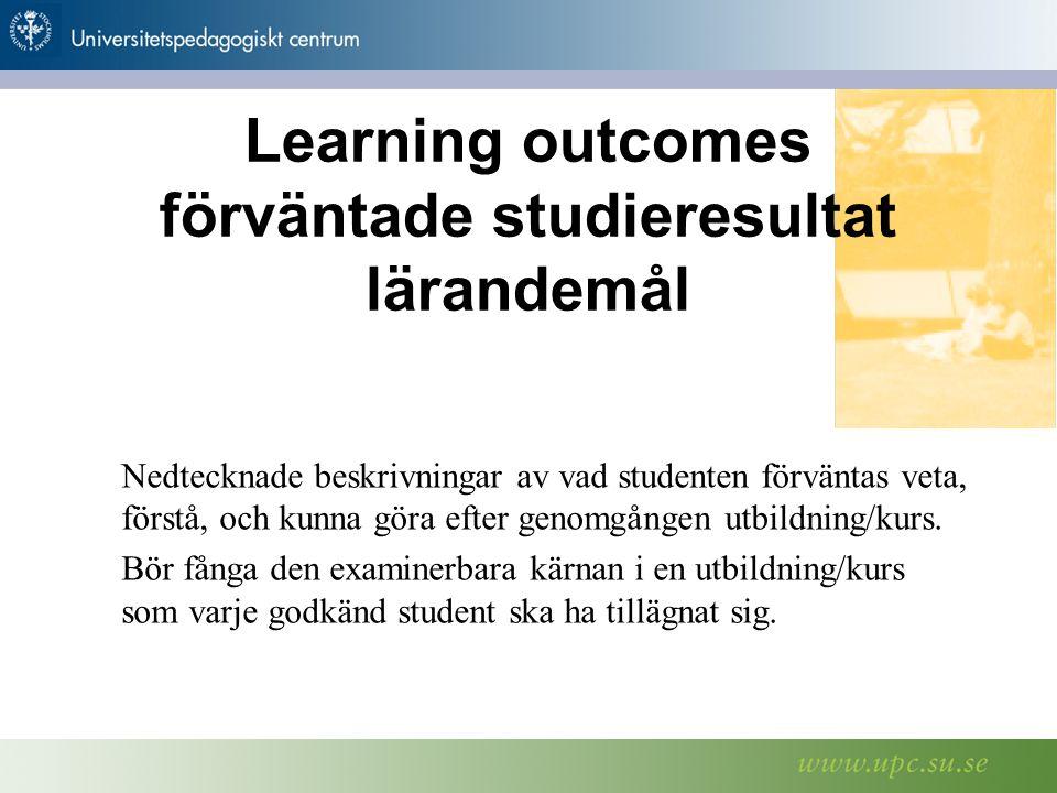STOCKHOLMS UNIVERSITETSBIBLIOTEK Te l e f o n v x l: 0 8-1 6 2 0 0 0 F ax: 0 8-15 2 8 0 0 w w w.s u b.s u.se Nedtecknade beskrivningar av vad studenten förväntas veta, förstå, och kunna göra efter genomgången utbildning/kurs.
