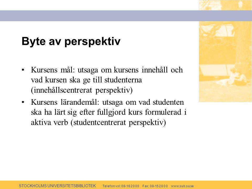 STOCKHOLMS UNIVERSITETSBIBLIOTEK Te l e f o n v x l: 0 8-1 6 2 0 0 0 F ax: 0 8-15 2 8 0 0 w w w.s u b.s u.se Byte av perspektiv Kursens mål: utsaga om kursens innehåll och vad kursen ska ge till studenterna (innehållscentrerat perspektiv) Kursens lärandemål: utsaga om vad studenten ska ha lärt sig efter fullgjord kurs formulerad i aktiva verb (studentcentrerat perspektiv)