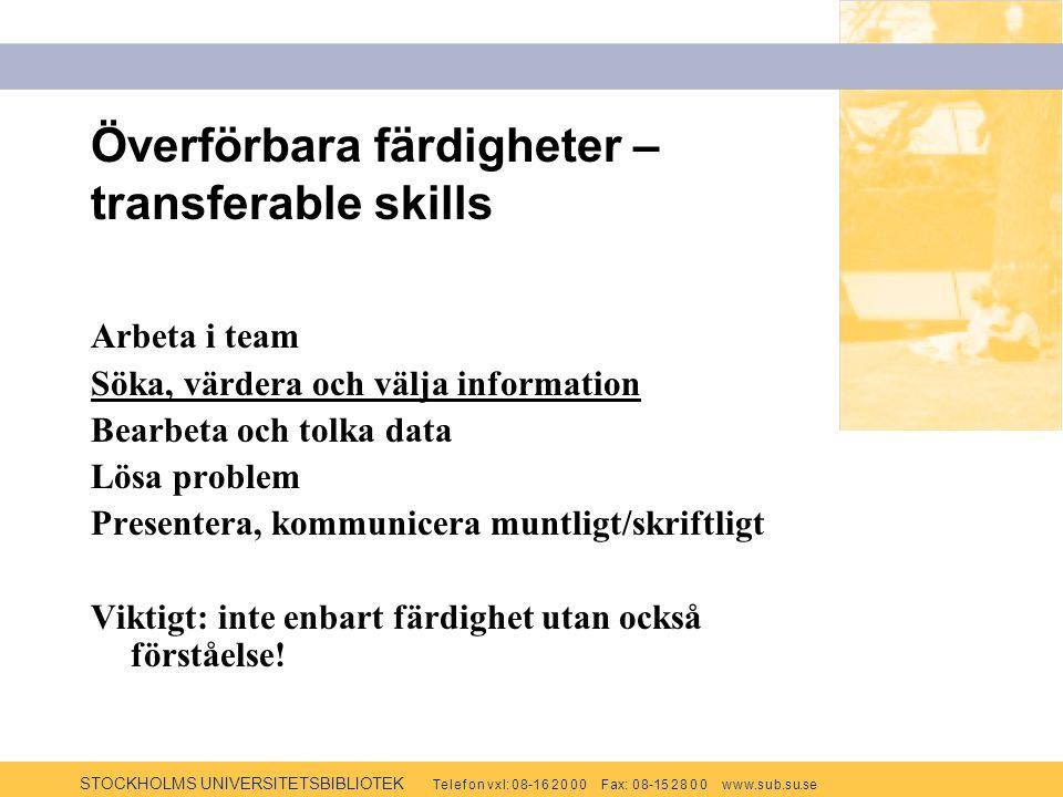 STOCKHOLMS UNIVERSITETSBIBLIOTEK Te l e f o n v x l: 0 8-1 6 2 0 0 0 F ax: 0 8-15 2 8 0 0 w w w.s u b.s u.se Överförbara färdigheter – transferable skills Arbeta i team Söka, värdera och välja information Bearbeta och tolka data Lösa problem Presentera, kommunicera muntligt/skriftligt Viktigt: inte enbart färdighet utan också förståelse!