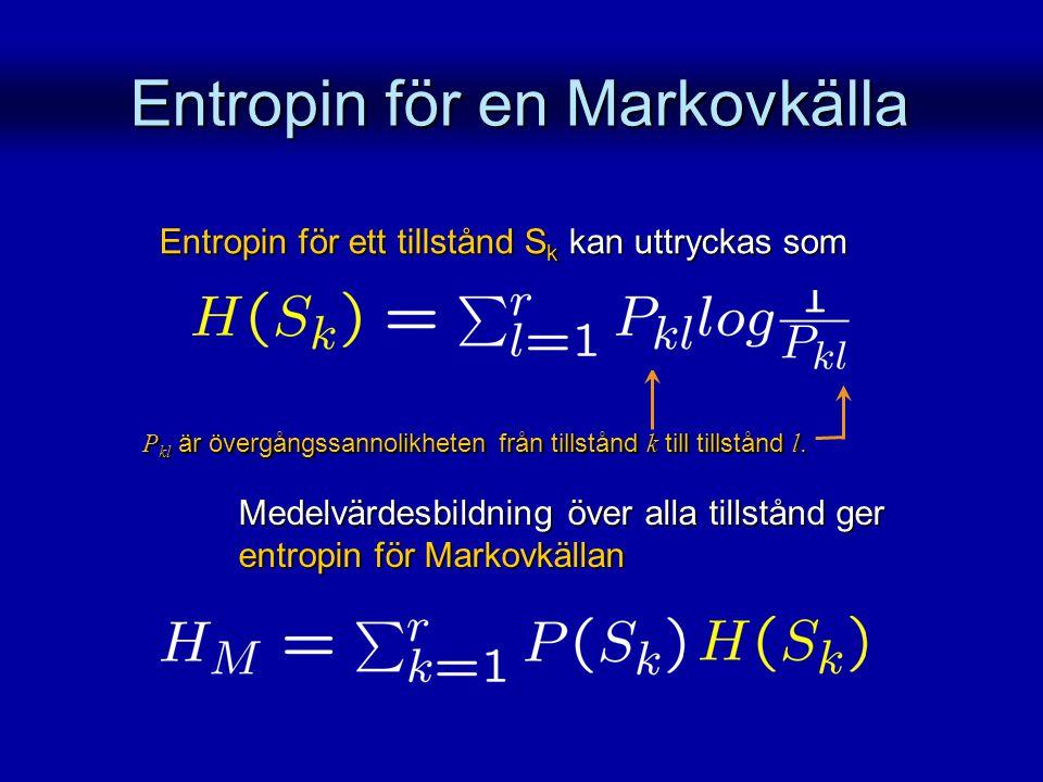 Entropin för en Markovkälla Entropin för ett tillstånd S k kan uttryckas som Medelvärdesbildning över alla tillstånd ger entropin för Markovkällan P k