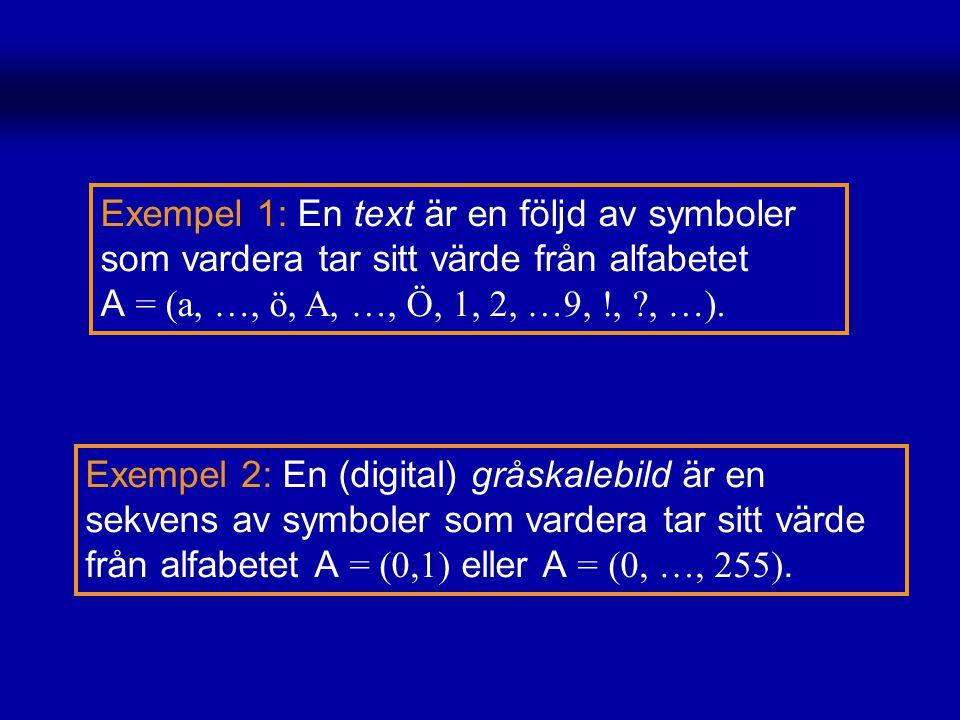 Exempel 1: En text är en följd av symboler som vardera tar sitt värde från alfabetet A = (a, …, ö, A, …, Ö, 1, 2, …9, !, ?, …). Exempel 2: En (digital