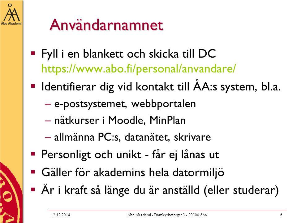 Mailman för listor  Om du behöver skapa en e-post lista, kontakta listmaster@abo.fi  Mailman är ett verktyg för att administrera e- post listor  https://www.abo.fi/personal/mailman  Möjligheter att begränsa användningen av listan på olika sätt 12.12.201417Åbo Akademi - Domkyrkotorget 3 - 20500 Åbo