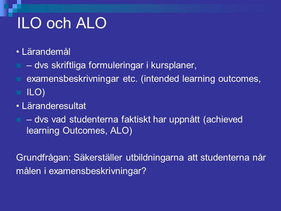 ILO och ALO Lärandemål – dvs skriftliga formuleringar i kursplaner, examensbeskrivningar etc. (intended learning outcomes, ILO) Läranderesultat – dvs