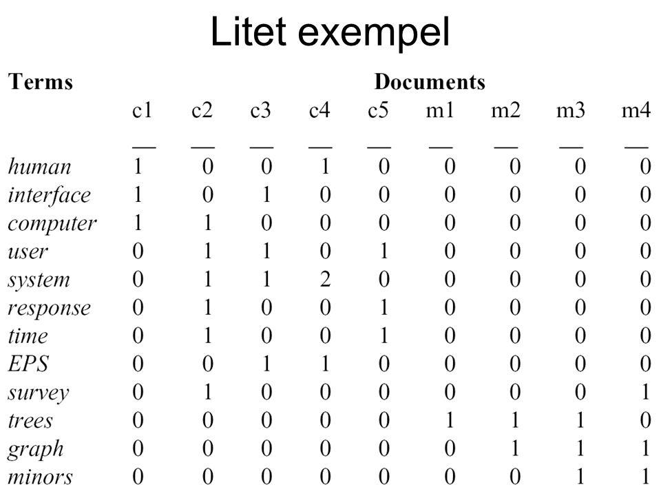 9e december 2003Statistiska metoder & IR21 Litet exempel