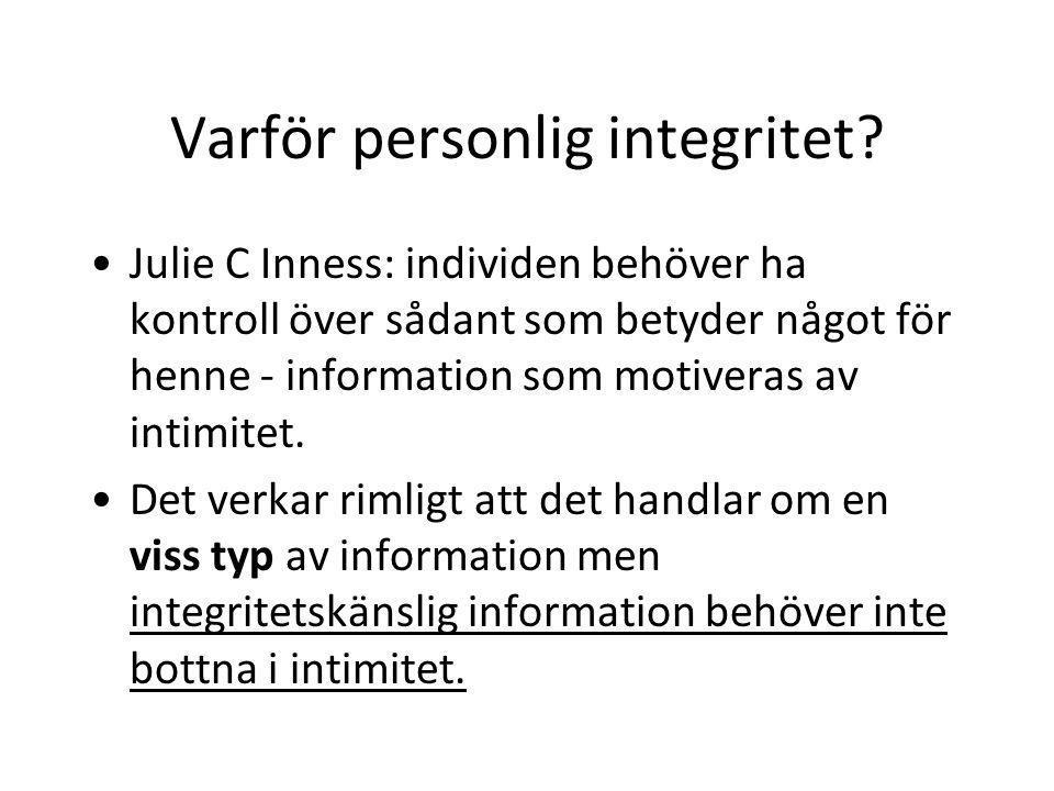 Varför personlig integritet.