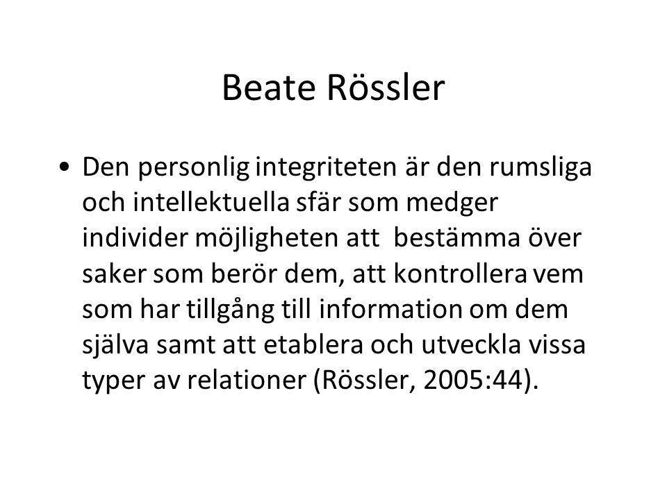 Beate Rössler Den personlig integriteten är den rumsliga och intellektuella sfär som medger individer möjligheten att bestämma över saker som berör dem, att kontrollera vem som har tillgång till information om dem själva samt att etablera och utveckla vissa typer av relationer (Rössler, 2005:44).