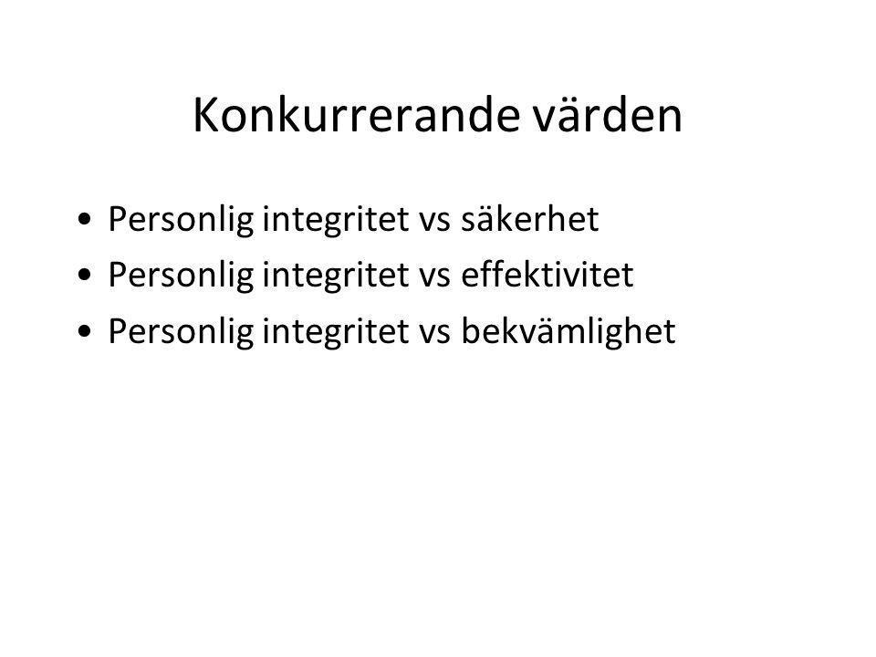 Konkurrerande värden Personlig integritet vs säkerhet Personlig integritet vs effektivitet Personlig integritet vs bekvämlighet