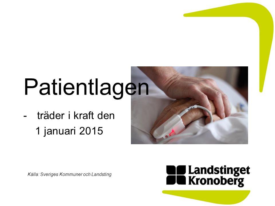 -träder i kraft den 1 januari 2015 Källa: Sveriges Kommuner och Landsting Patientlagen
