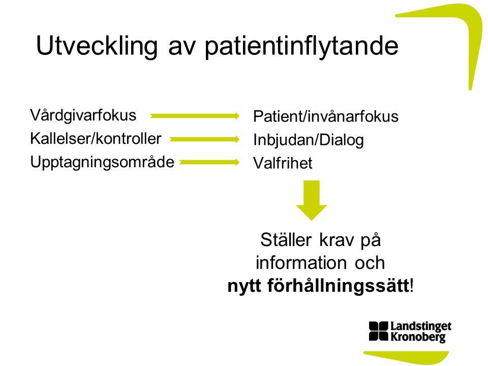 Utveckling av patientinflytande Vårdgivarfokus Kallelser/kontroller Upptagningsområde Patient/invånarfokus Inbjudan/Dialog Valfrihet Ställer krav på i