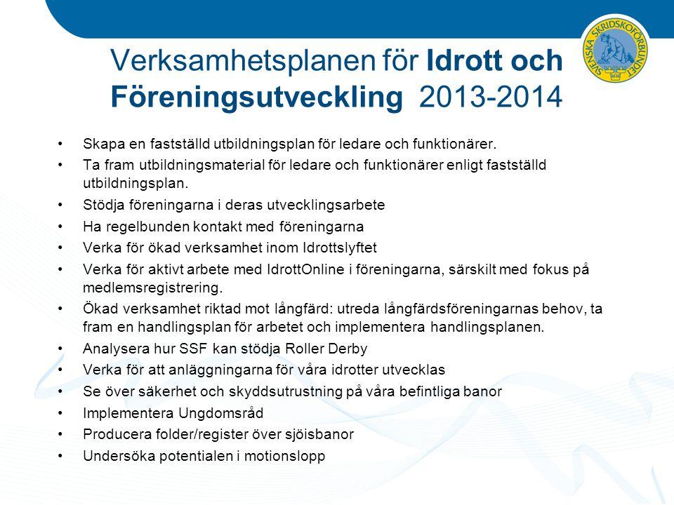 Verksamhetsplanen för Idrott och Föreningsutveckling 2013-2014 Skapa en fastställd utbildningsplan för ledare och funktionärer. Ta fram utbildningsmat