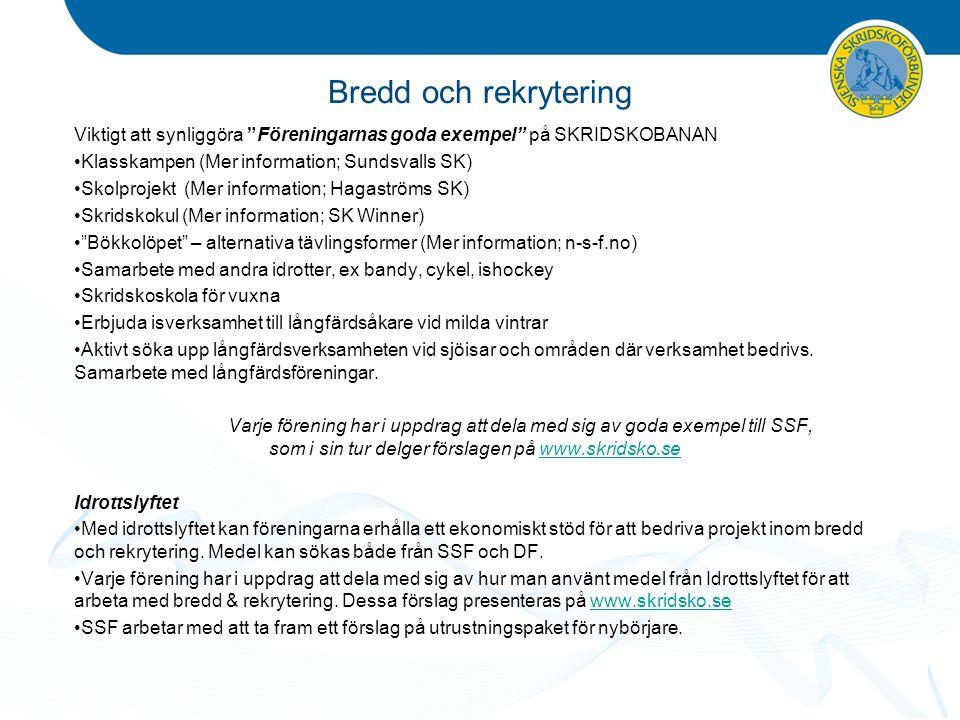 """Bredd och rekrytering Viktigt att synliggöra """"Föreningarnas goda exempel"""" på SKRIDSKOBANAN Klasskampen (Mer information; Sundsvalls SK) Skolprojekt (M"""