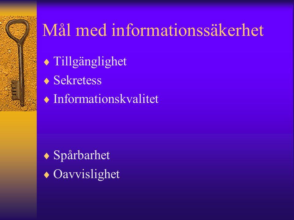 Mål med informationssäkerhet  Tillgänglighet  Sekretess  Informationskvalitet  Spårbarhet  Oavvislighet
