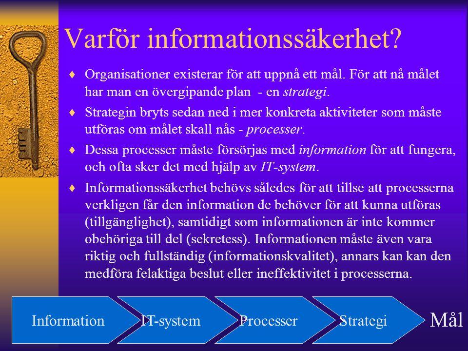 Varför informationssäkerhet? InformationIT-systemProcesserStrategi Mål  Organisationer existerar för att uppnå ett mål. För att nå målet har man en ö
