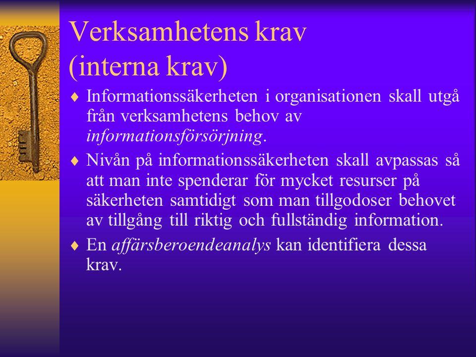 Verksamhetens krav (interna krav)  Informationssäkerheten i organisationen skall utgå från verksamhetens behov av informationsförsörjning.  Nivån på
