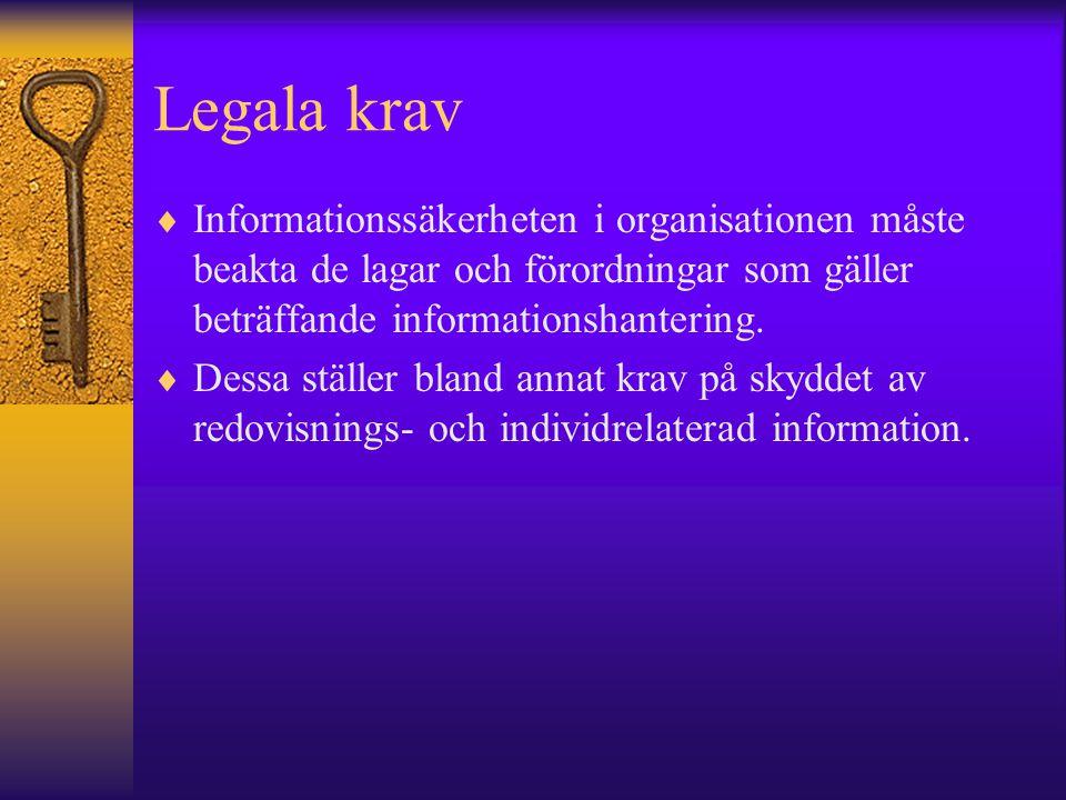 Legala krav  Informationssäkerheten i organisationen måste beakta de lagar och förordningar som gäller beträffande informationshantering.  Dessa stä