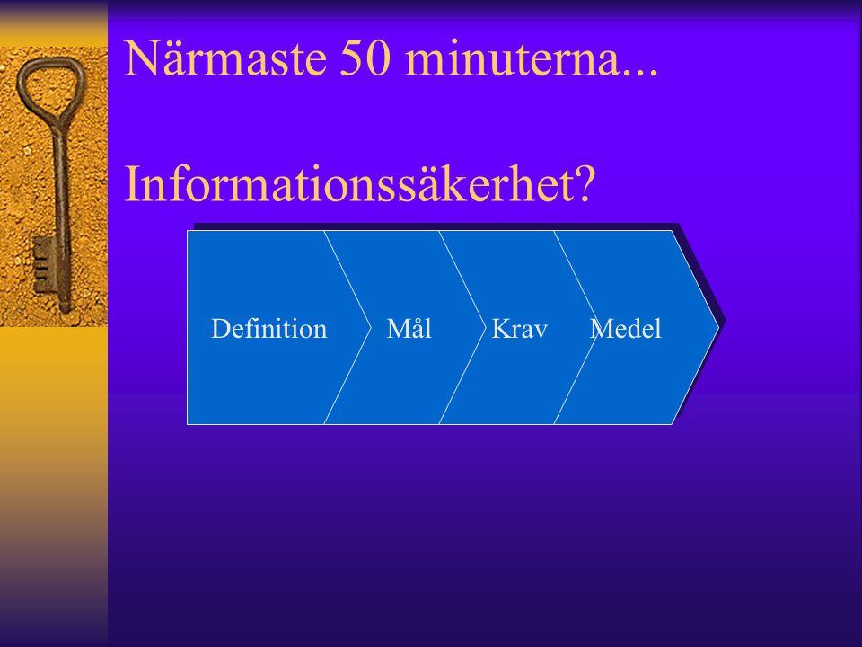 Definition Mål Krav Medel Närmaste 50 minuterna... Informationssäkerhet?