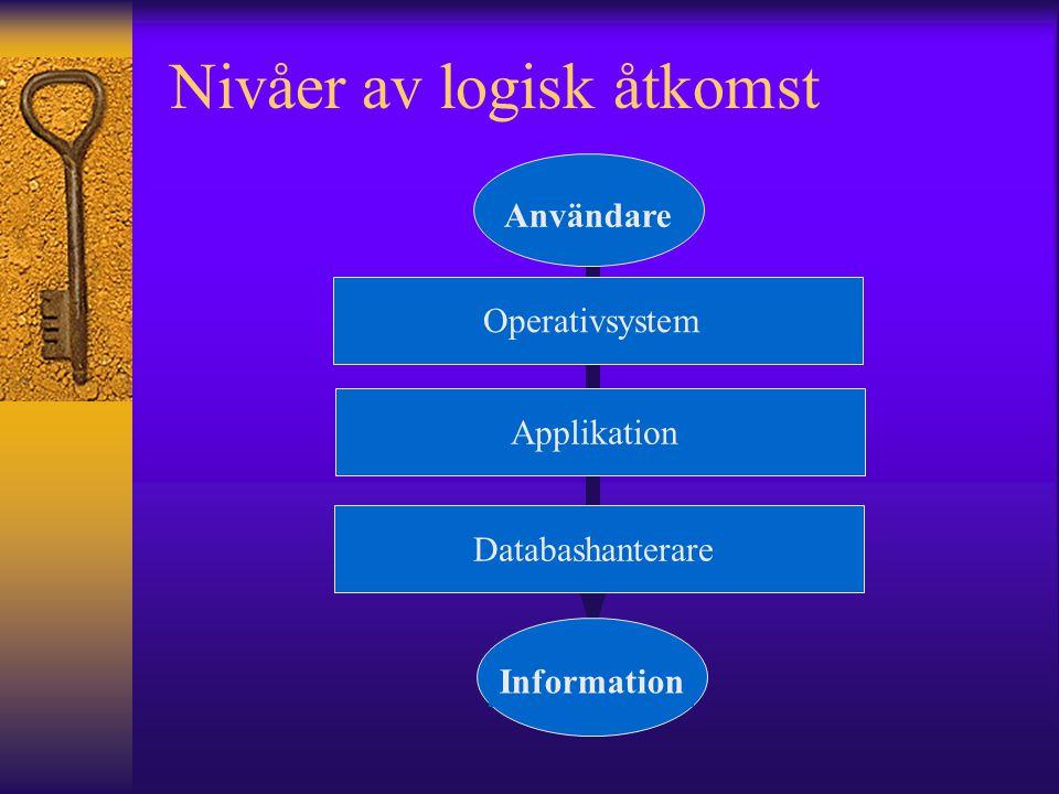 Nivåer av logisk åtkomst Användare Information OperativsystemDatabashanterare Applikation