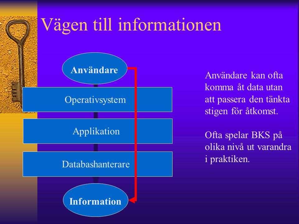 Vägen till informationen Användare Information OperativsystemDatabashanterare Applikation Användare kan ofta komma åt data utan att passera den tänkta
