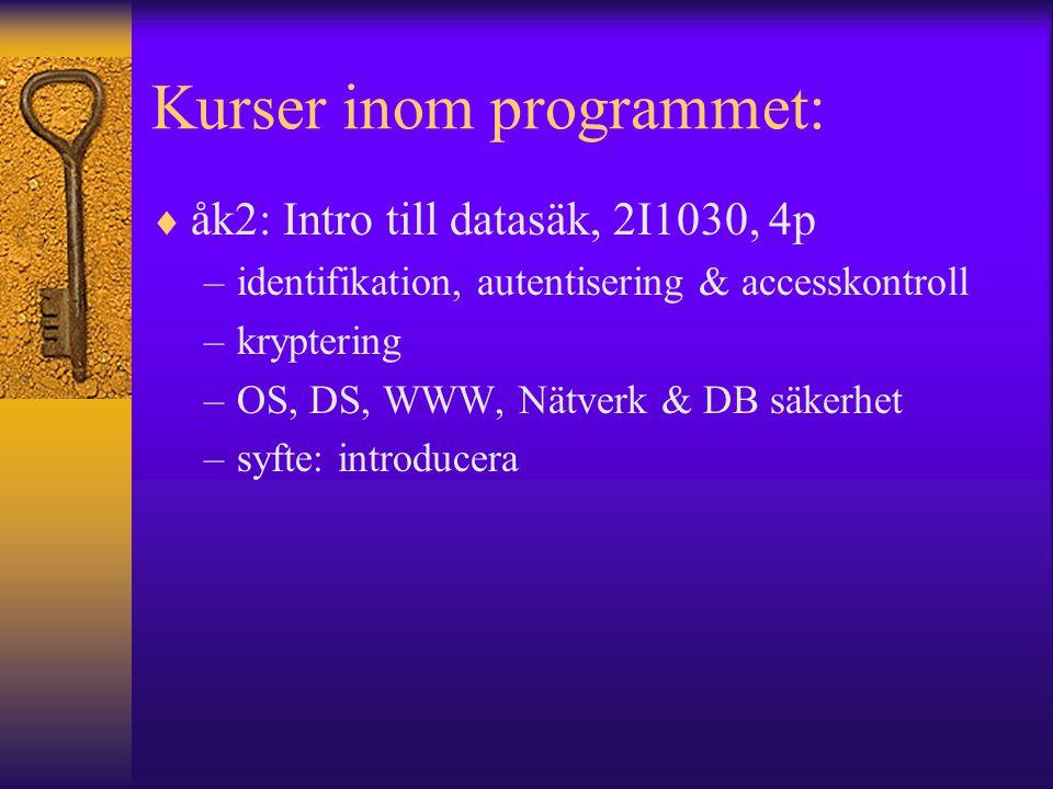 Kurser inom programmet:  åk2: Intro till datasäk, 2I1030, 4p –identifikation, autentisering & accesskontroll –kryptering –OS, DS, WWW, Nätverk & DB s