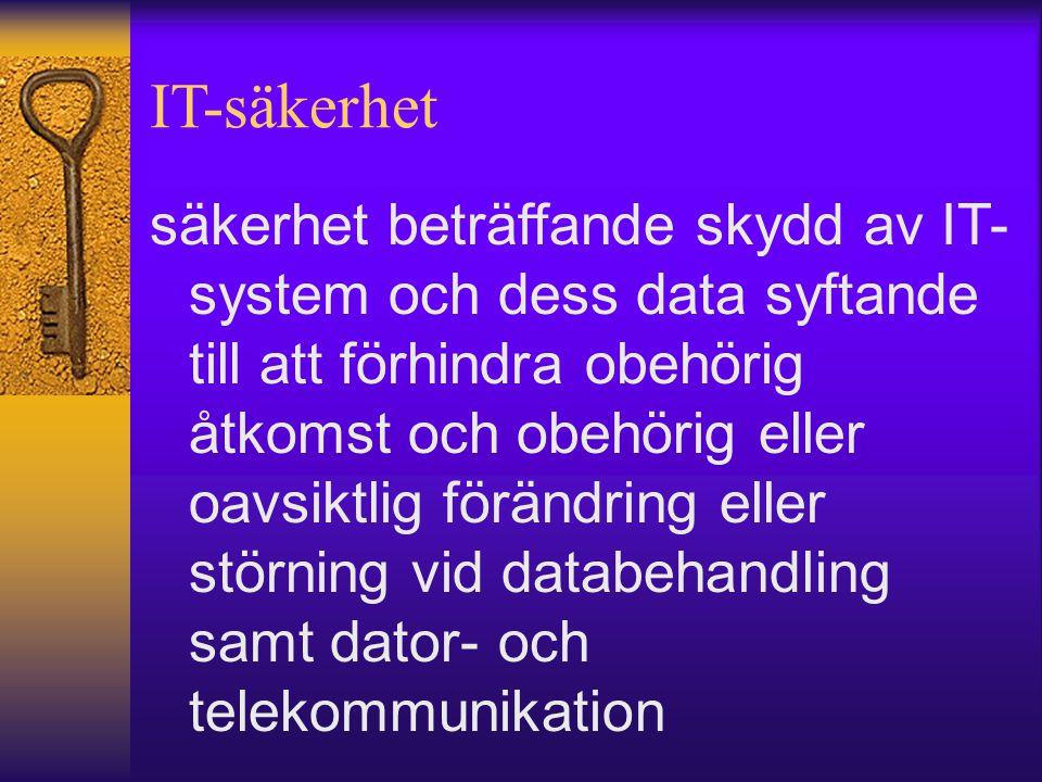 IT-säkerhet säkerhet beträffande skydd av IT- system och dess data syftande till att förhindra obehörig åtkomst och obehörig eller oavsiktlig förändri
