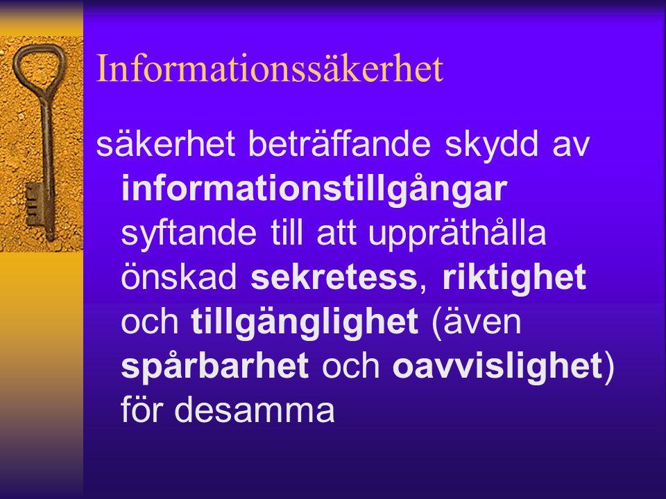 Informationssäkerhet säkerhet beträffande skydd av informationstillgångar syftande till att uppräthålla önskad sekretess, riktighet och tillgänglighet