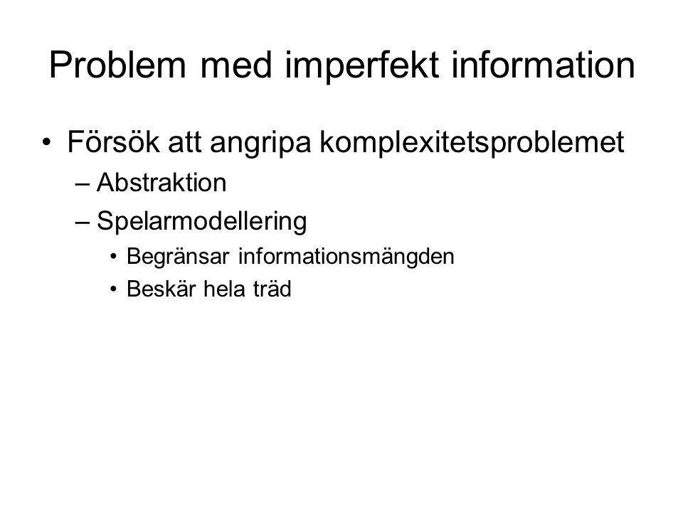 Problem med imperfekt information Försök att angripa komplexitetsproblemet –Abstraktion –Spelarmodellering Begränsar informationsmängden Beskär hela t