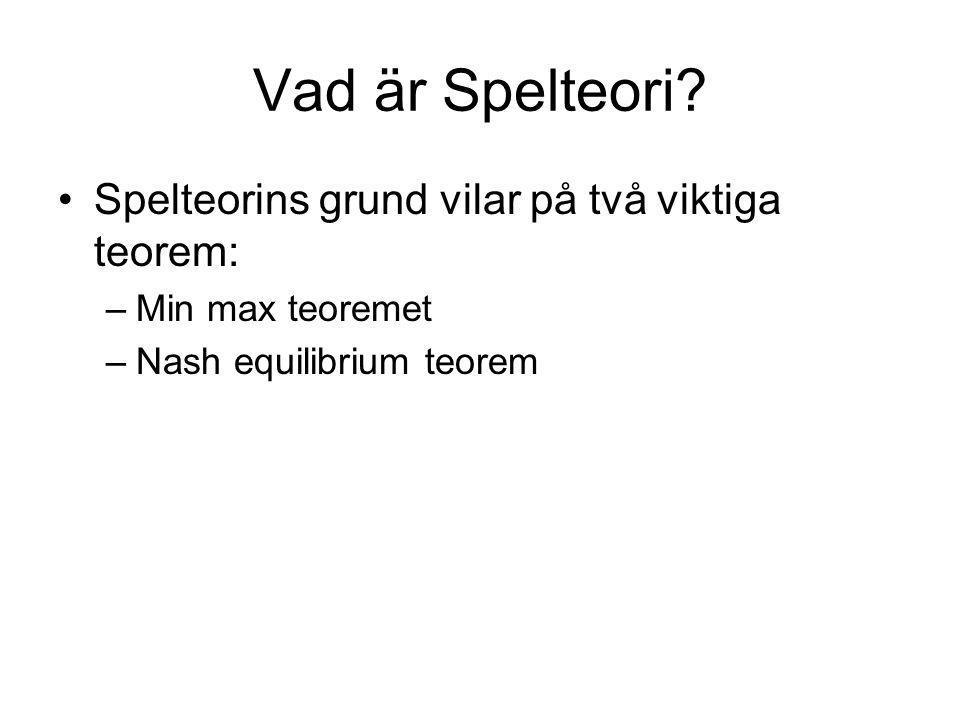 Vad är Spelteori? Spelteorins grund vilar på två viktiga teorem: –Min max teoremet –Nash equilibrium teorem