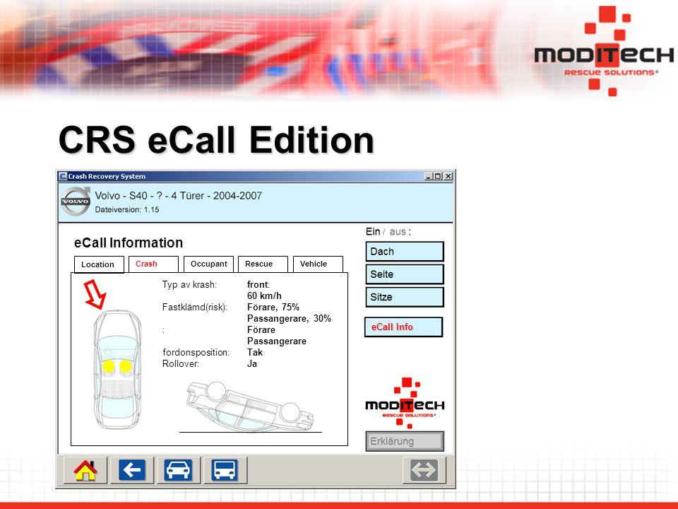 CRS eCall Edition eCall Info eCall Information Crash Location OccupantRescue Typ av krash:front: 60 km/h Fastklämd(risk):Förare, 75% Passangerare, 30% :Förare Passangerare fordonsposition:Tak Rollover:Ja Vehicle