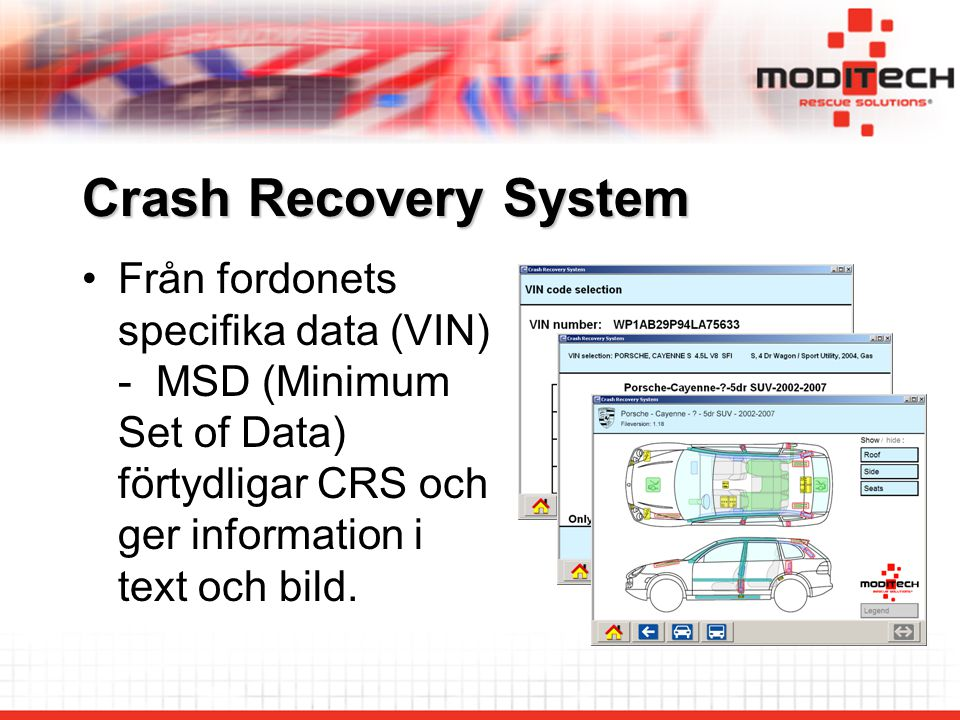 Crash Recovery System Från fordonets specifika data (VIN) - MSD (Minimum Set of Data) förtydligar CRS och ger information i text och bild.