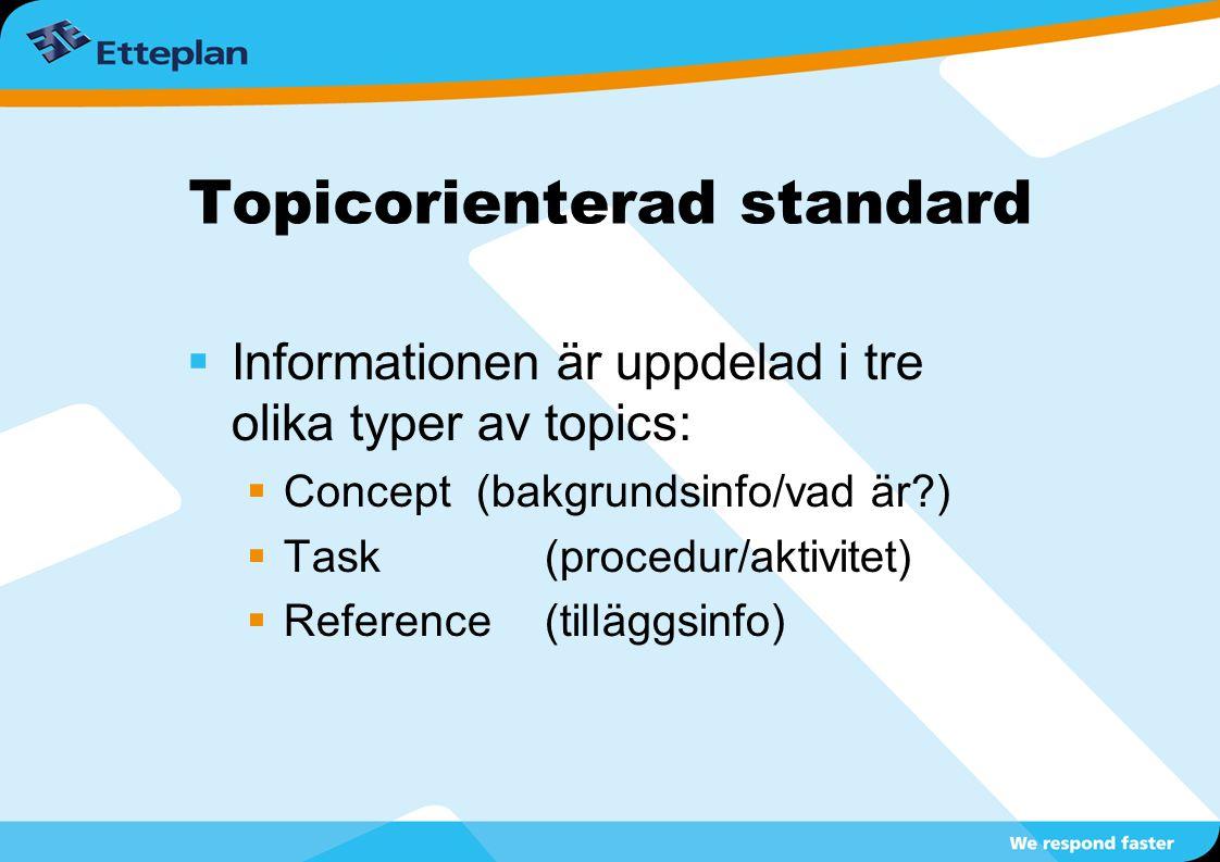  Informationen är uppdelad i tre olika typer av topics:  Concept (bakgrundsinfo/vad är?)  Task(procedur/aktivitet)  Reference(tilläggsinfo) Topico