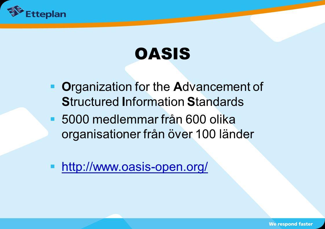 OASIS  Organization for the Advancement of Structured Information Standards  5000 medlemmar från 600 olika organisationer från över 100 länder  htt